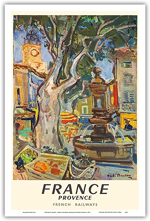 midcentury-style France tourism wall art poster French Riviera Art print