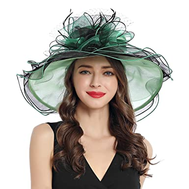 53cf87ea8867c Women s Organza Church Derby Fascinator Cap Kentucky Tea Party Wedding Hat  (11A-Geen)