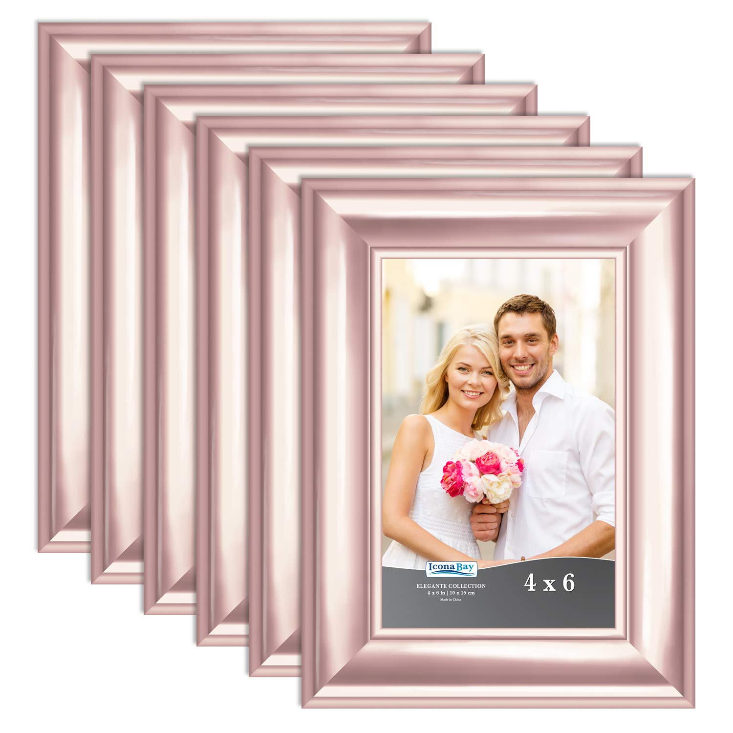 Icona Bay 4x6 Picture Frame (6 Pack, Rose Gold), Rose Gold Photo Frame 4 x 6, Wall Mount or Table Top, Set of 6 Elegante Collection by Icona Bay