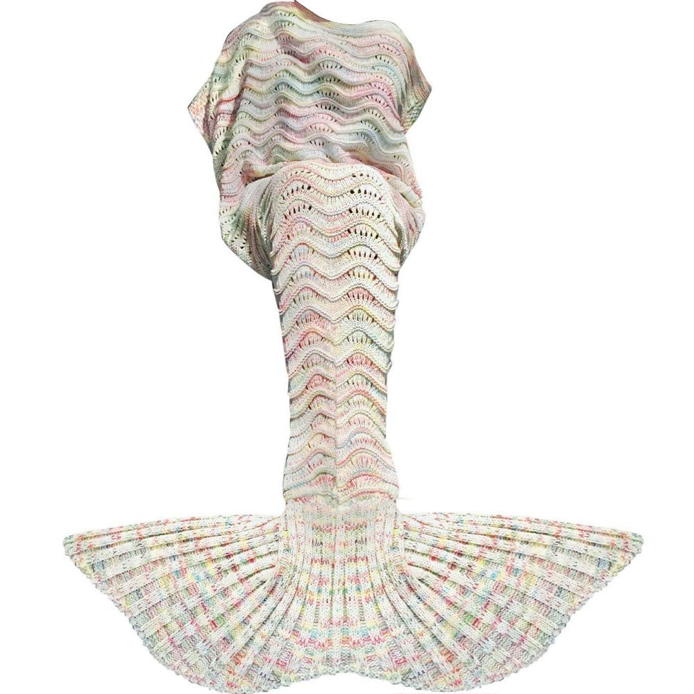 Fu Store Mermaid Tail Blanket Crochet Mermaid Blanket for Adult, Super Soft All Seasons Sofa Sleeping Blanket, Cool Birthday Wedding, 71 x 35 Inches, Colorful White