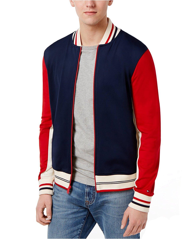 Tommy Hilfiger Men's Palmer Logo Baseball Jacket (Navy Blazer Multi, XXL)