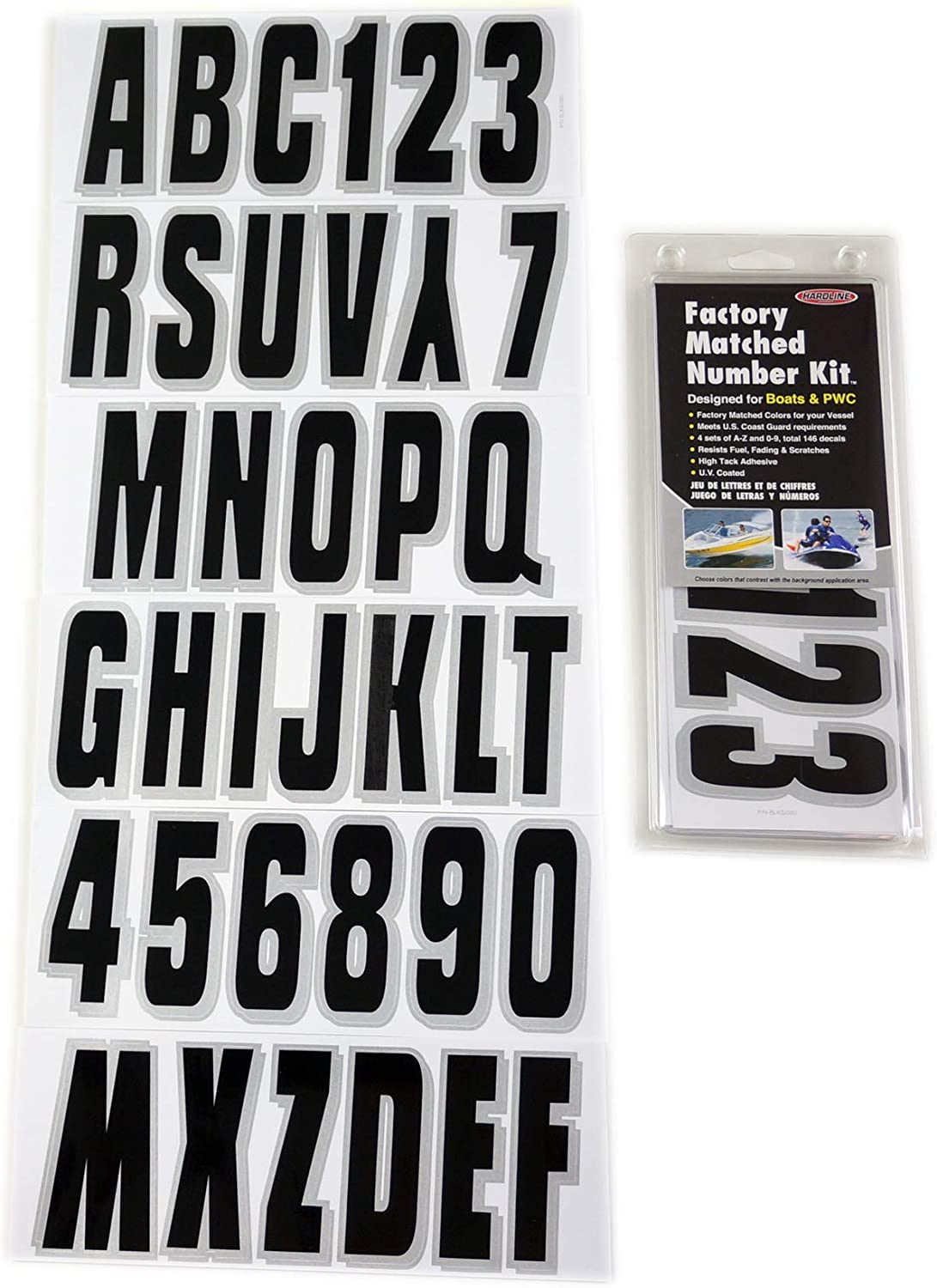 Hardline Products BLKSI320 Factory Matched 3-Inch Boat /& PWC Registration Number Kit Black//Silver