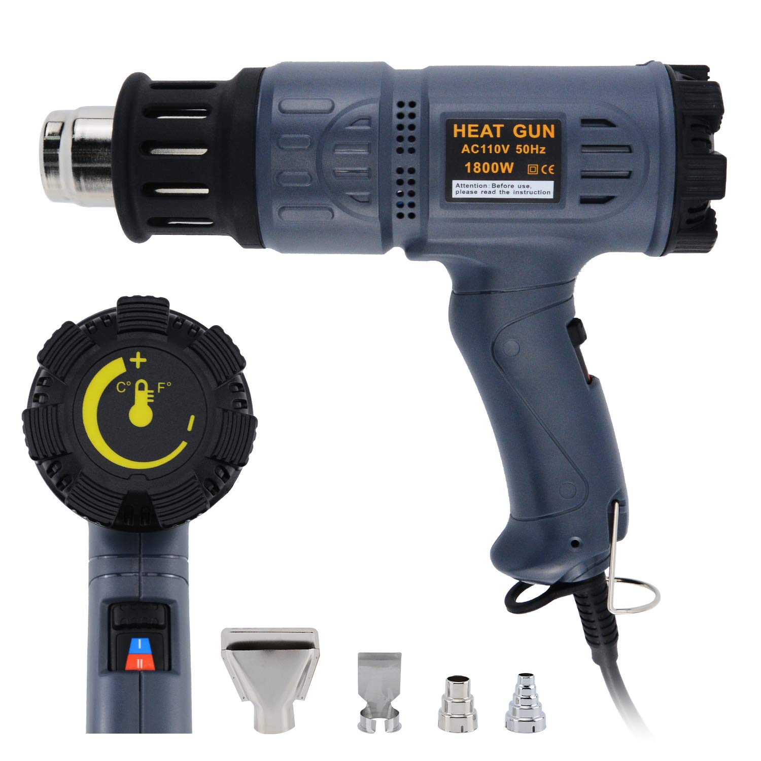 MokenEye 1800W Heat Gun 122℉~ 1112℉ 50℃ 600℃ Precision Control Temperature by Adjustment Dial with Two Temp settings Temperature Heat Gun Kit with Four Metal Nozzle