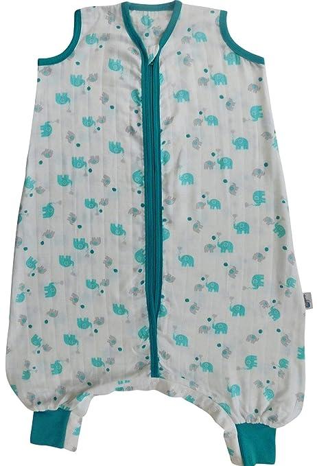 Slumbersac Saco de dormir de verano con pies 0.5 Tog - Bamboo Muslin Blue Elephant -