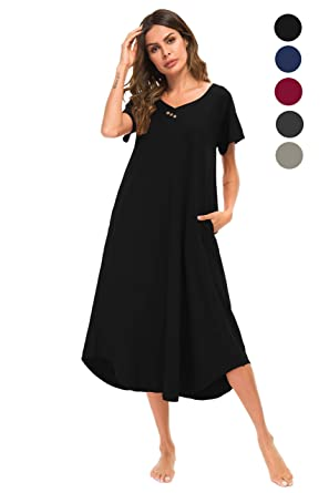 Yozly Womens Lounger Cotton Knit Short Sleeve Long Sleeping Gown S-XXL ( Black cb6018c13