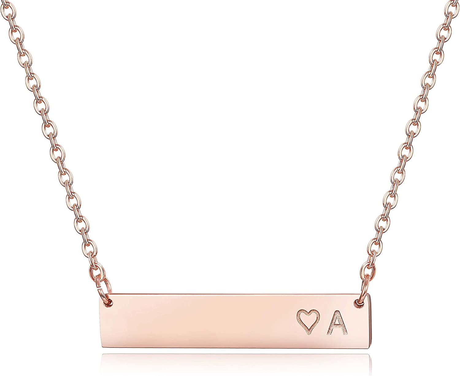 Gold Pink Box Double Bar Initial Necklace H