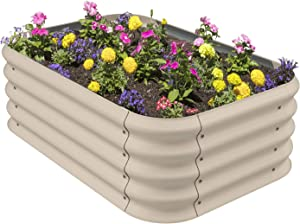 Stratco Corrugated Iron Raised Garden Bed - Beige | 3.3' Long x 2.3' Wide x 1.1' High | Easy DIY 11 CU FT Capacity Garden Bed