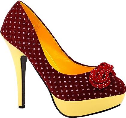 Ladies Spot On High Heel Platform Court Shoes