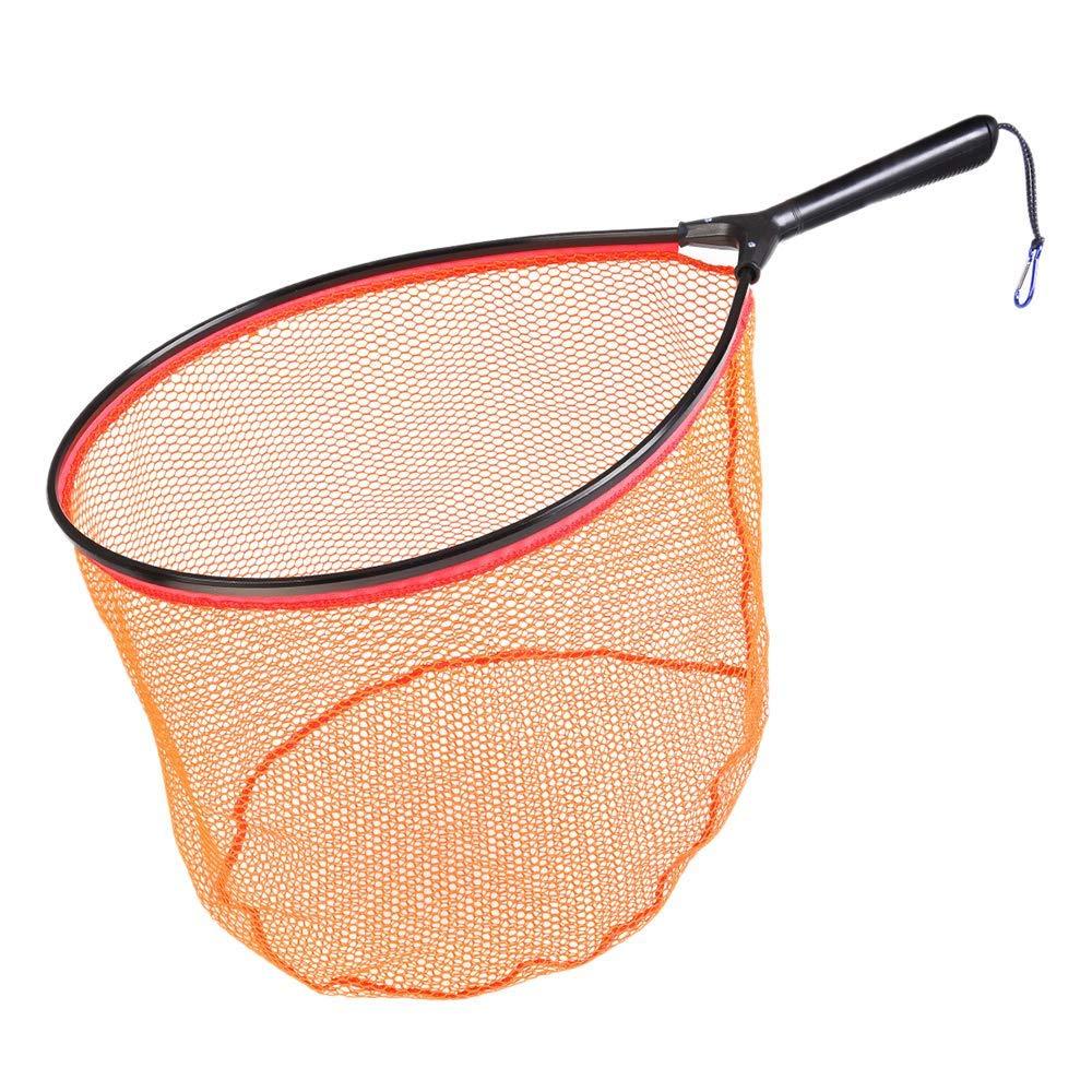 orange Fishing Net, Aluminum Landing Nets Fly Fishing Landing Trout Net Catch Release Net Portable Lightweight Fishing Accessories, for Fly Fishing Trout Kayak Boating.