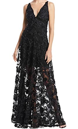 c933a754 Avery G Womens Floral Applique Illusion Evening Dress at Amazon ...