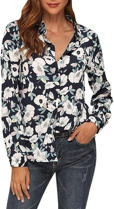 Vectry Camisa Mujer Cuello Bajo Manga Larga Estampado De Un Solo Pecho Camiseta De Trabajo Informal Top Camisa Otoño Verano Playa Y Fiesta: Amazon.es: Ropa y accesorios