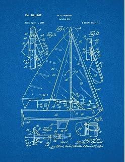 Amazon sailboat patent print art poster blueprint 11 x 14 sailing rig patent print art poster blueprint 11 x malvernweather Image collections