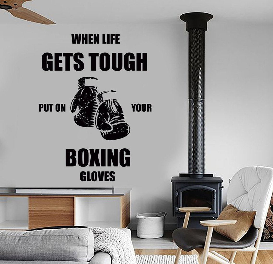 BorisMotley Wall Decal When Life Gets Tough Put On Your Boxing Gloves Vinyl Removable Mural Art Decoration Stickers for Home Bedroom Nursery Living Room Kitchen