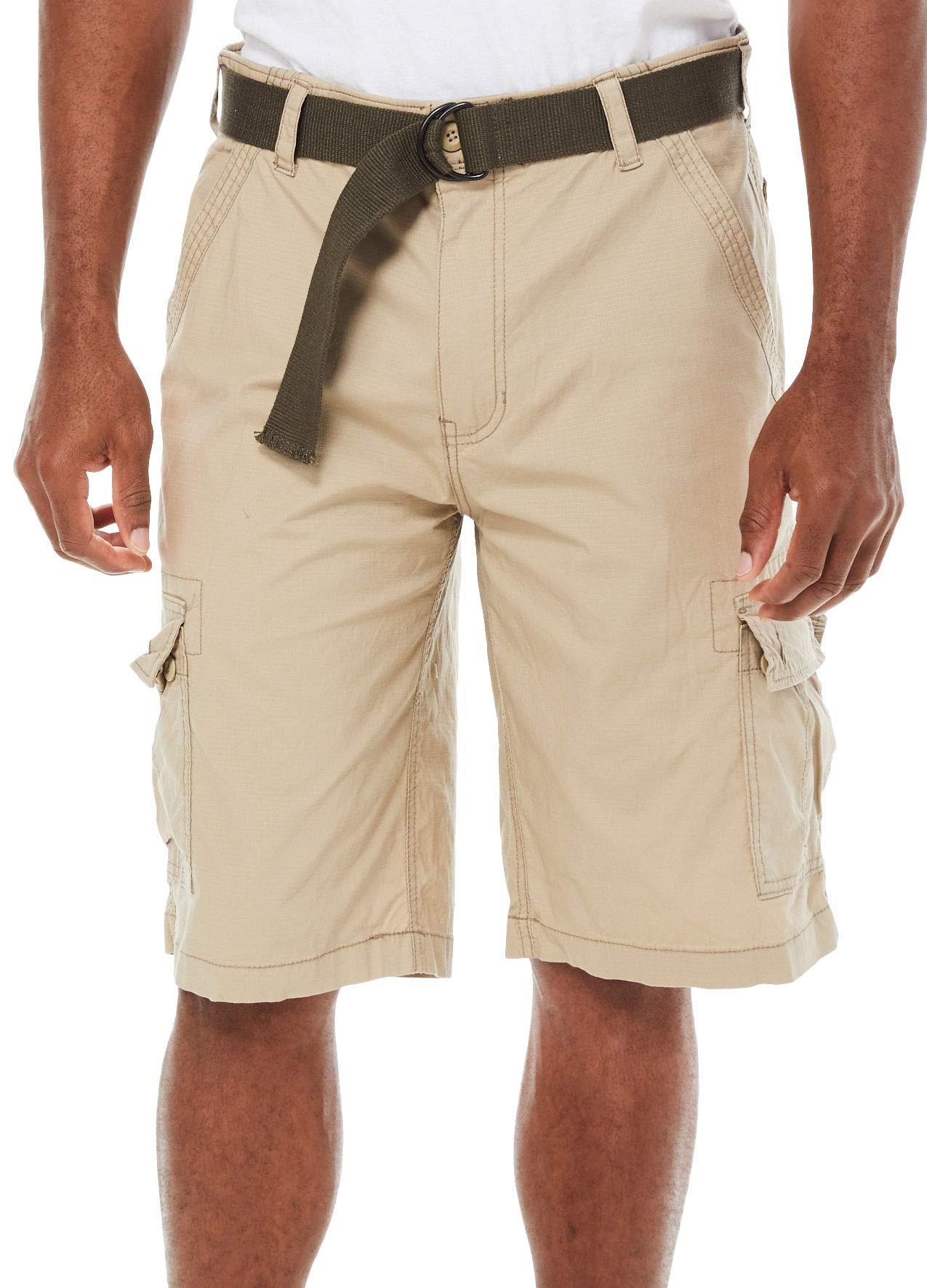 Wearfirst Mens Freeband Stretch Ripstop Cargo Shorts 34W Chinchilla Beige