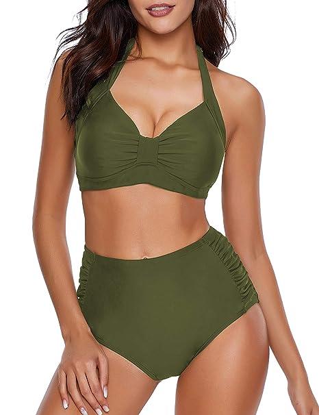 Amazon.com: ACKKIA Halter traje de baño de dos piezas con ...