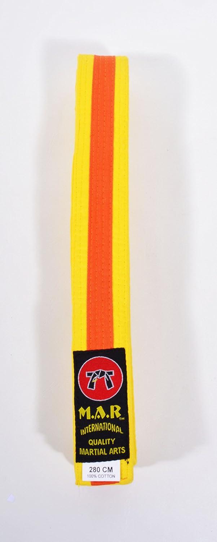 M.A.R International Ltd. MAR Yellow & Orange Stripe Belt -Karate Belts/Judo Belts