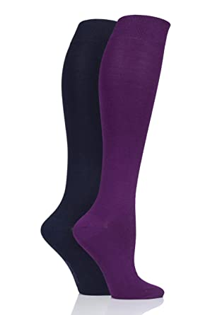 d420a3ac6ca3e Ladies 2 Pair SockShop Patterned, Striped and Plain Bamboo Knee High Socks  (4-8, Nightshade): Amazon.co.uk: Clothing