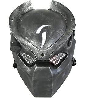 ATAIRSOFT Tactical Protective Airsoft Metal mesh Alien Full Face Mask with Lamp Silver Black