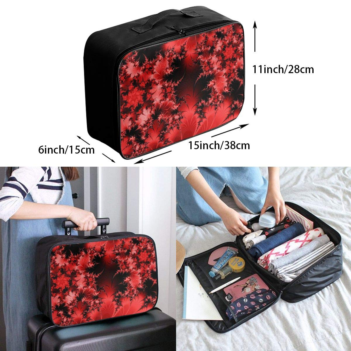 Travel Luggage Duffle Bag Lightweight Portable Handbag Abstract Red Floral Print Large Capacity Waterproof Foldable Storage Tote