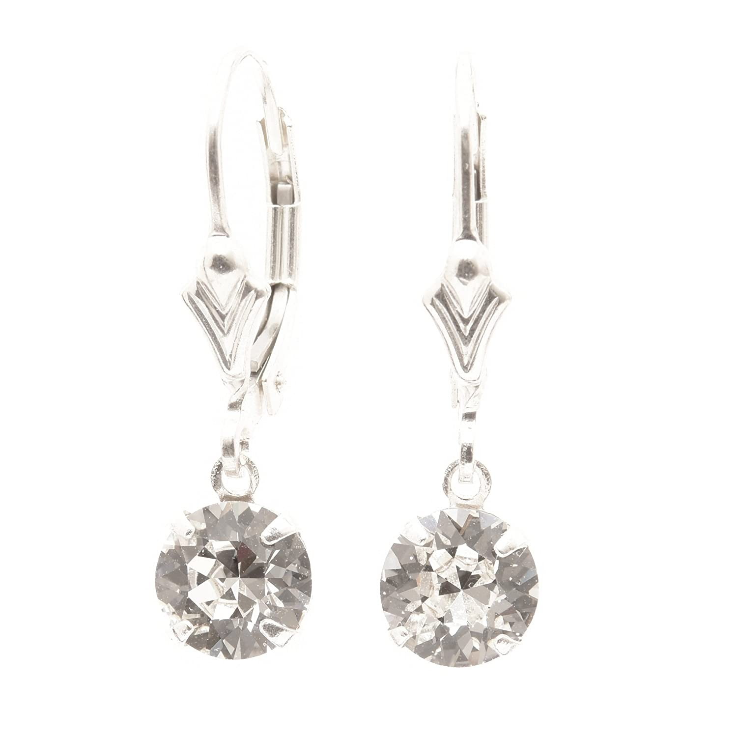pewterhooter 925 Sterling Silver lever back earrings handmade with Diamond  White crystal from SWAROVSKI®. London box.  pewterhooter  Amazon.co.uk   Jewellery ae28da29a