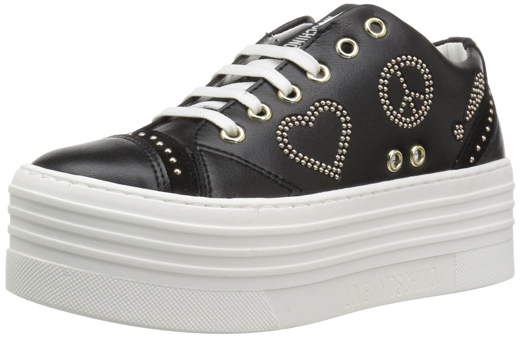 Love Moschino Women's JA15116G15IA0000 Sneaker, Black, 38 M EU (7 US)