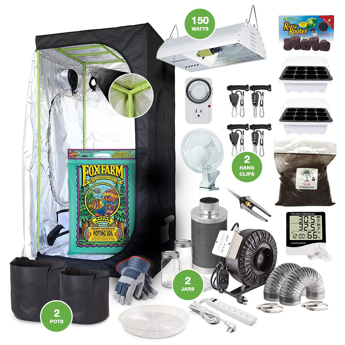 The Bud Grower Complete Indoor Grow Kit with Fan, Soil, 24 x24 x60 Hut – Everything You Need to Grow Plants Inside