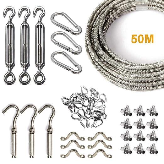 Kit de Colgador de Cuerda de Acero Inoxidable, Cadena para Exteriores, Kit de Suspensión de Cuerda, 50m con Tensor y Ganchos, Cable de Cuerda de ...