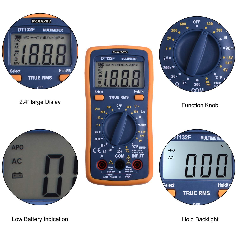 Kuman Multimeter Pocket Digital Multi Tester Voltmeter Ammeter Ohmmeter AC//DC Voltage Current Resistance Diodes Temperature Audible Continuity with Backlight LCD for Electronic Test DT132F
