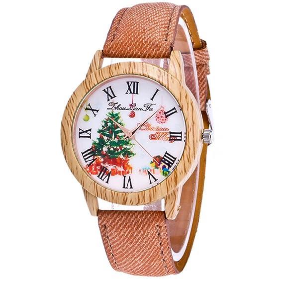 Mujer Vintage Reloj de pulsera Árbol de Navidad diseño de vetas de madera Relojes Casual Cuarzo