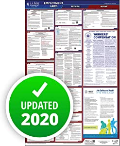 """2020 Maine Labor Law Poster, All-in-One OSHA Compliant ME State & Federal Laminated Poster (26"""" x 40"""" English) - Comes with Free Newsletter & Free State Change Alerts - J. J. Keller & Associates"""