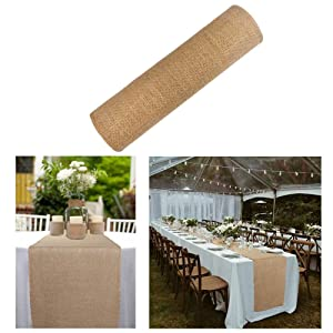 OurWarm 12 x 108 Inch Hessian Burlap Table Runner, Natural Jute Table Runners for Country Vintage Wedding Decoration, Rustic Farmhouse Kitchen Decor
