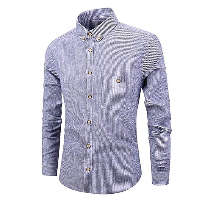 f19332a784 2019 Primavera y Verano Camisa de Rayas de Hombres