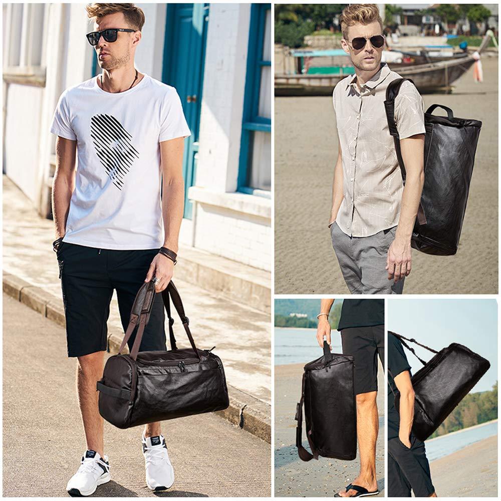 Gym Duffel Travel Bag Large Capacity PU Leather Travel luggage Shoulder Backpack