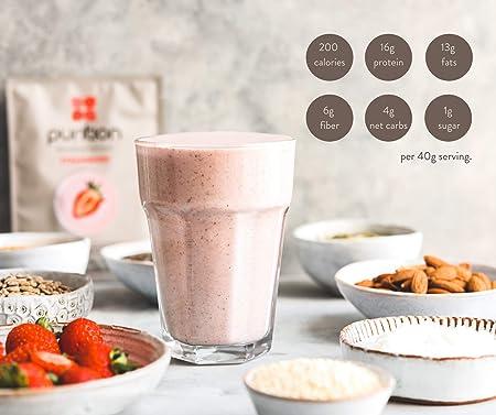 Purition Batido de proteínas de Fresa (500g). Batido para el desayuno
