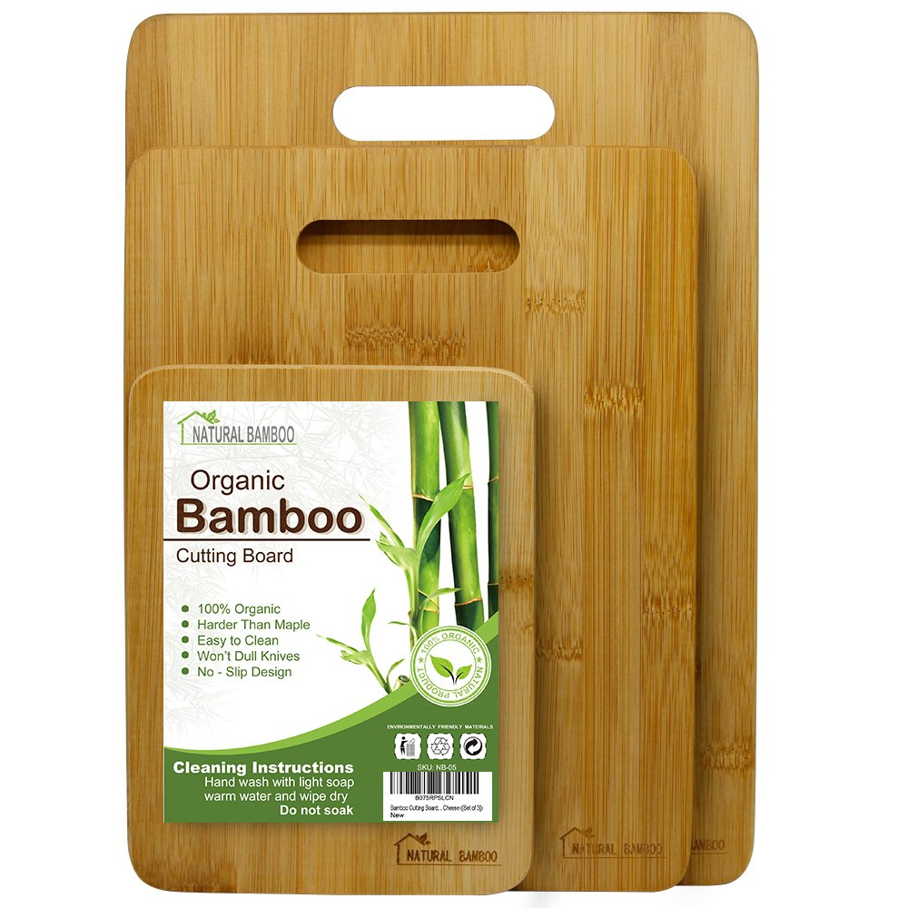 Bamboo Cutting Board [Set of 3], Natural Bamboo 100% Premium Organic; Cutting & Serving Board Set; Used for Cut Food Prep, Meat, Vegetables, Bread, Crackers & Cheese ([Set of 3]) by Natural Bamboo (Image #1)
