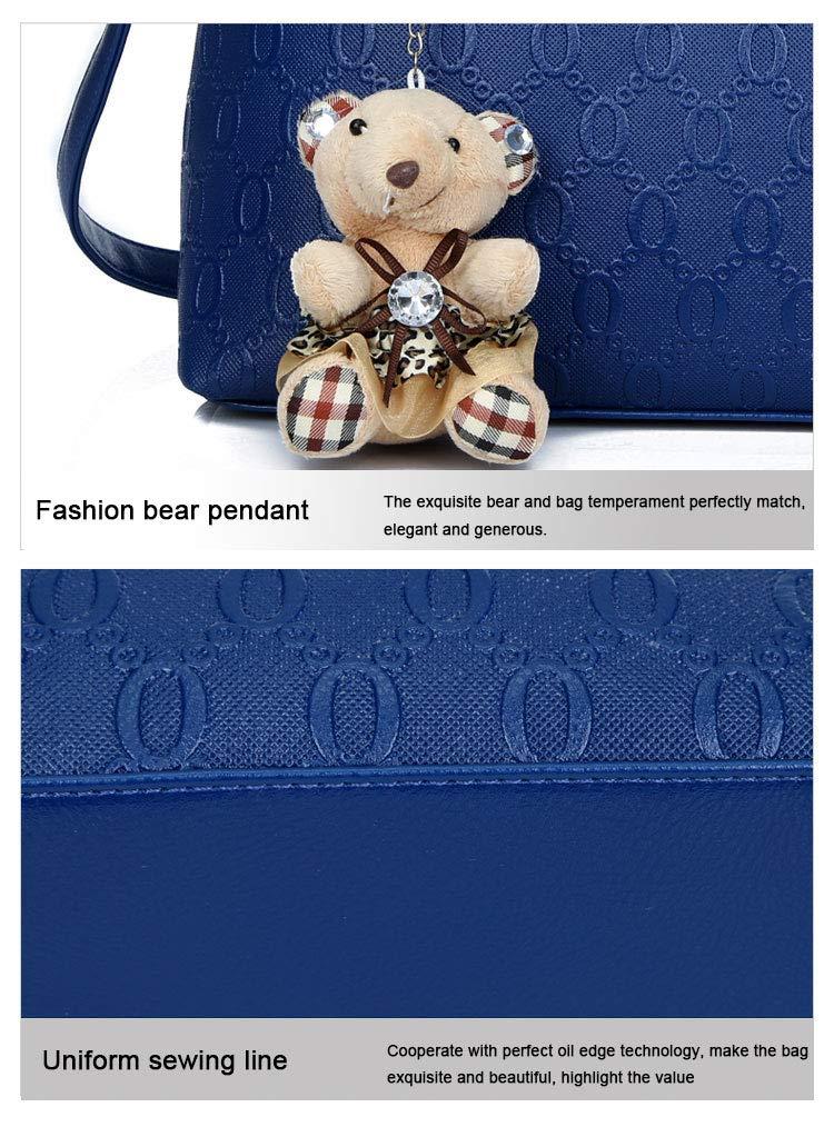 DSGYZQ damhandväska 2019 ny fyrdelad björn berlock väska axelväska Messenger Bag Lila