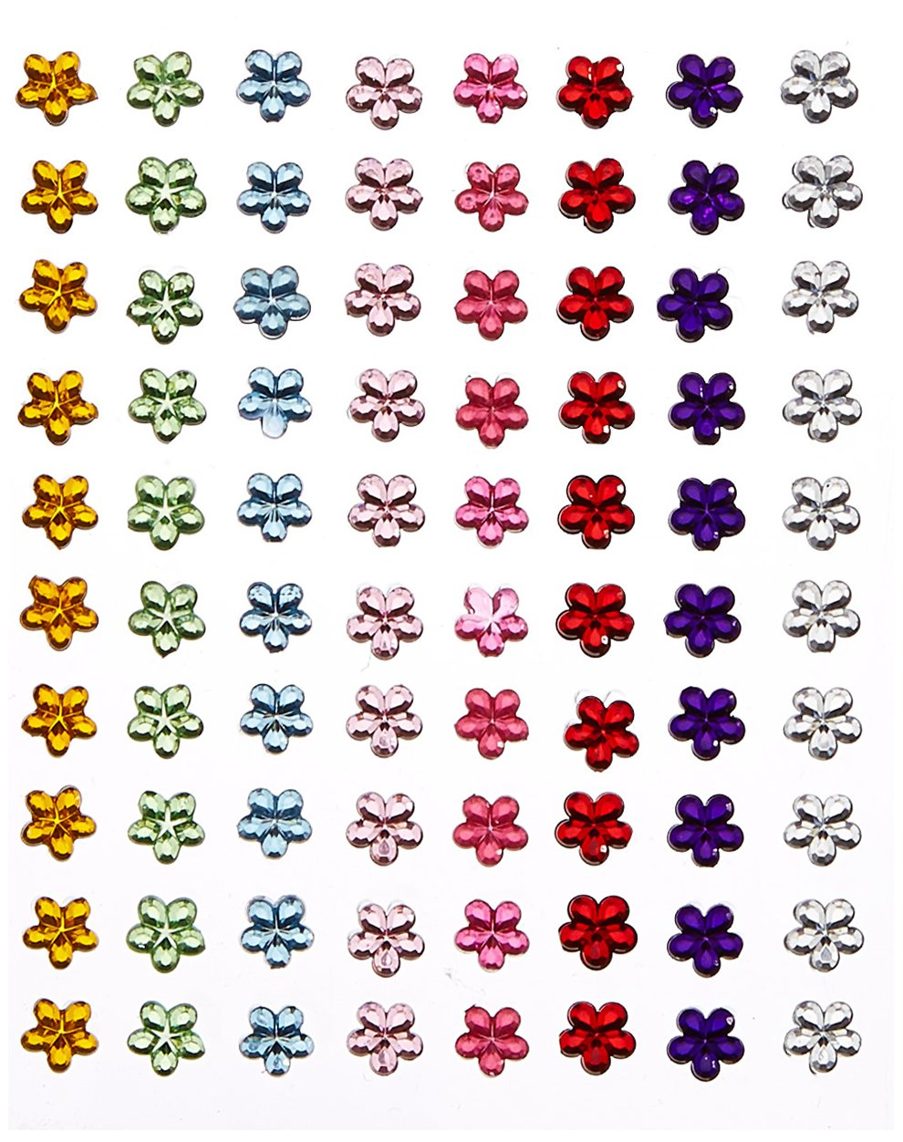 6mm Clear Flower ✽ Self Adhesive Stick on Gems ✽ 100 per sheet