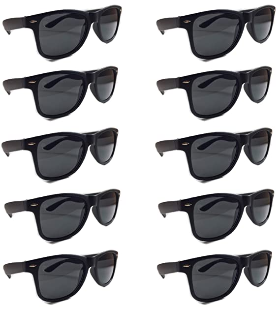 1c12c73201c BULK SUNGLASSES Wholesale 10 Pack Matte Black- Wholesale Unisex 80 s retro  Wayfarer Style Party Sunglasses