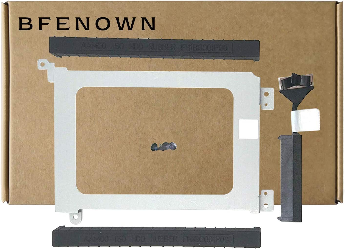 Bfenown HDD Hard Disk Drive Bracket Caddy 3FDY3 with Grommet Rubber Rail 3XYT5 and HDD Connector Cable XDYGX for Dell XPS 15 9550 9570 9650 7590 9560 Precision 5510 5520 5530 5540 (4 Screws Included)