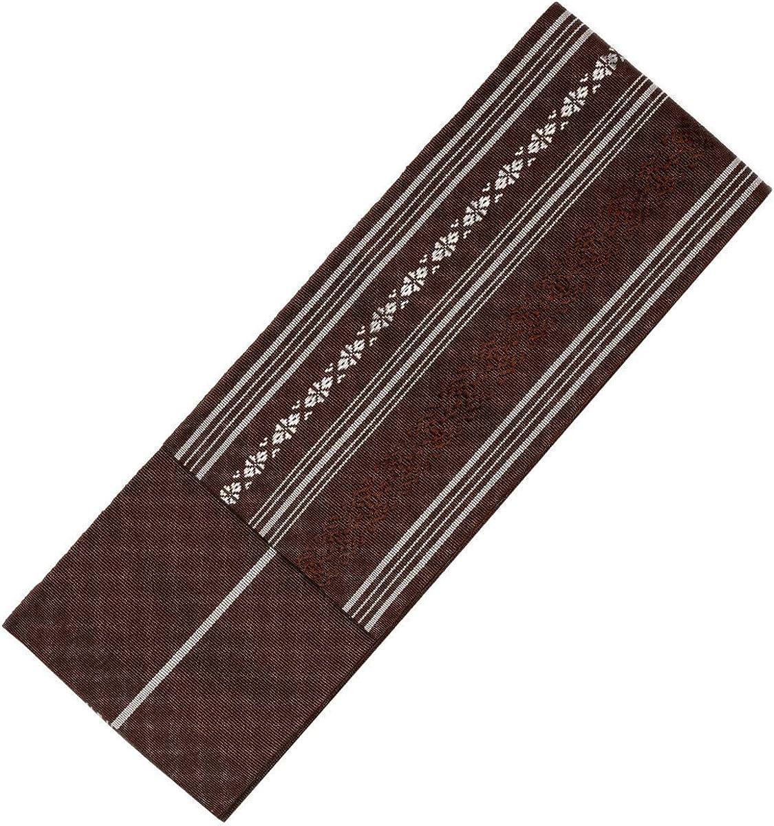 KYOETSU Mens Japanese Hakata Kaku Obi Kimono belt Silk 5,Brown