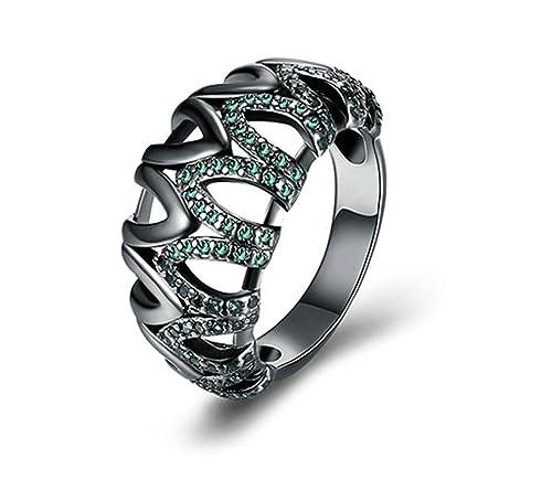 Adisaer mujeres anillos negro chapado en oro corte redondo Zirconia cúbico amor bandas de anillos de boda para novia: Amazon.es: Joyería