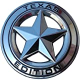 """Muzzys Texas Edition Star CHROME and Black Round 3"""" Shield Emblem Universal Stick On for Toyota Tundra, Tacoma, Ford F150, Chevy Silverado, Nissan Titan, Hood, Door, Tailgate, Grille, Fender, etc"""