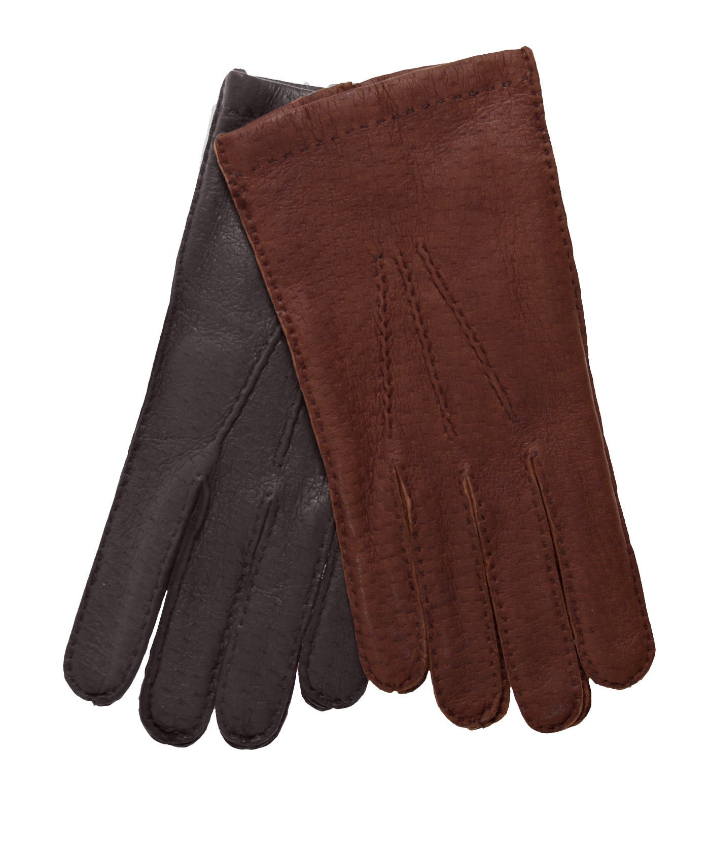 Men's Italian Cashmere Lined Peccary Gloves Size 7 Color Brown