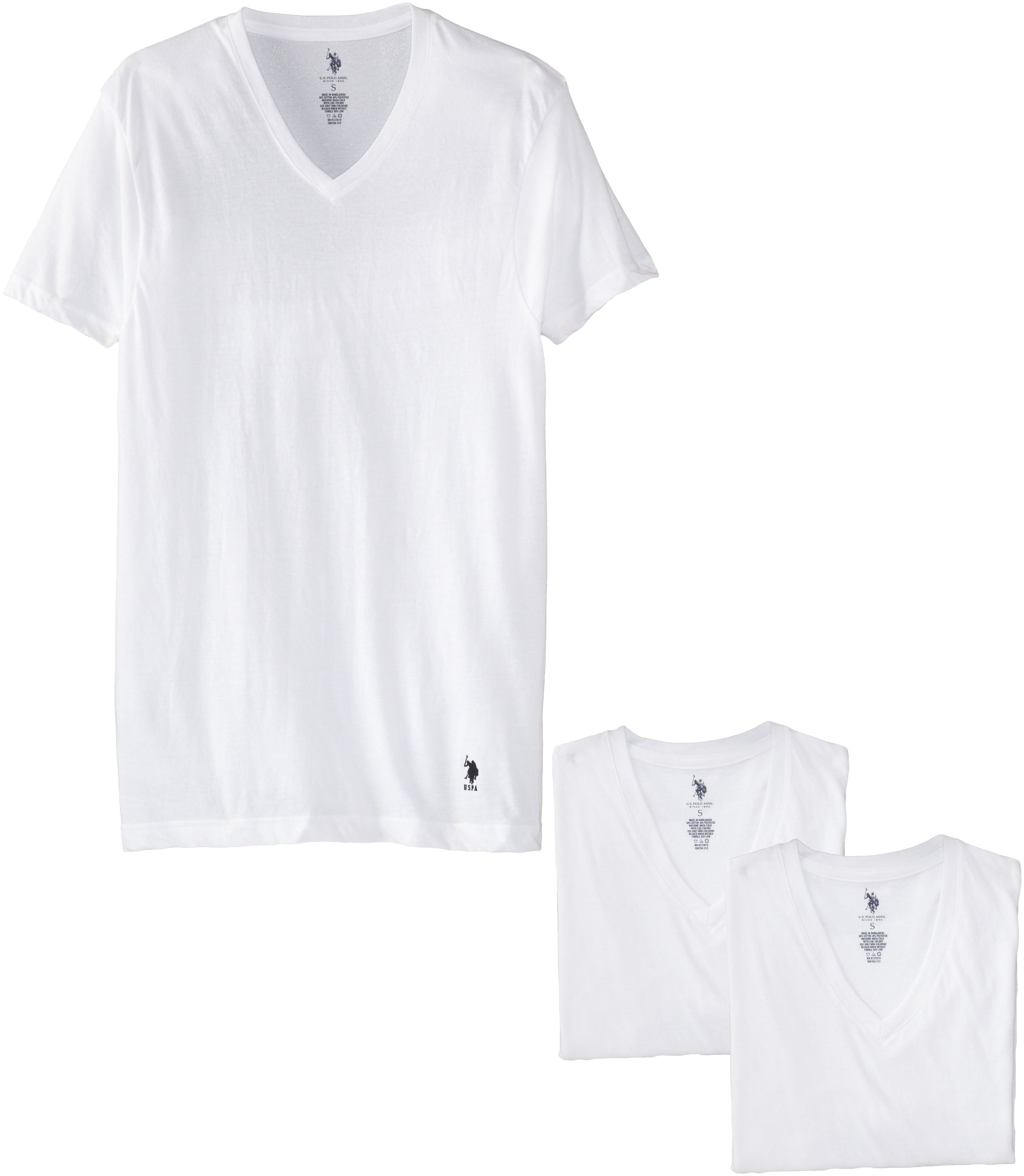 U.S. Polo Assn.. Men's 3 Pack V-Neck Tee, White, Medium