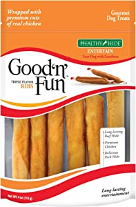 Good 'N' Fun Triple Flavor Rawhide Ribs For Dogs, 4-Ounce