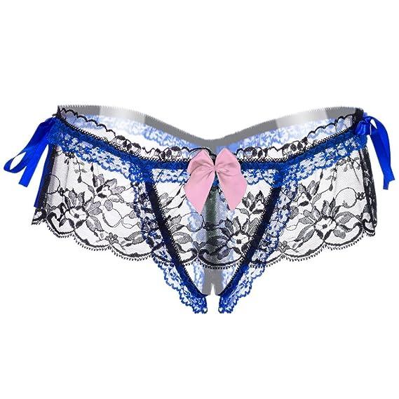 Bestow Floral Lace Panties Intimates Thong Briefs Calzoncillos de Ropa Interior Transparentes de Cintura Alta(