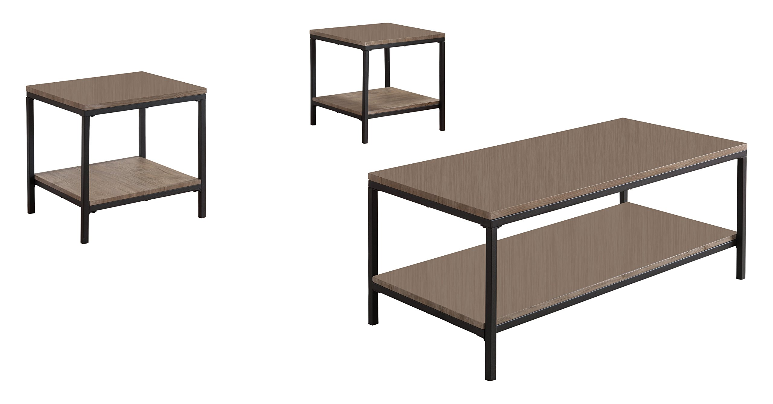 Kings Brand 3 Piece Gray / Black Occasional Table Set, Coffee Table & 2 End Tables by Kings Brand Furniture (Image #4)