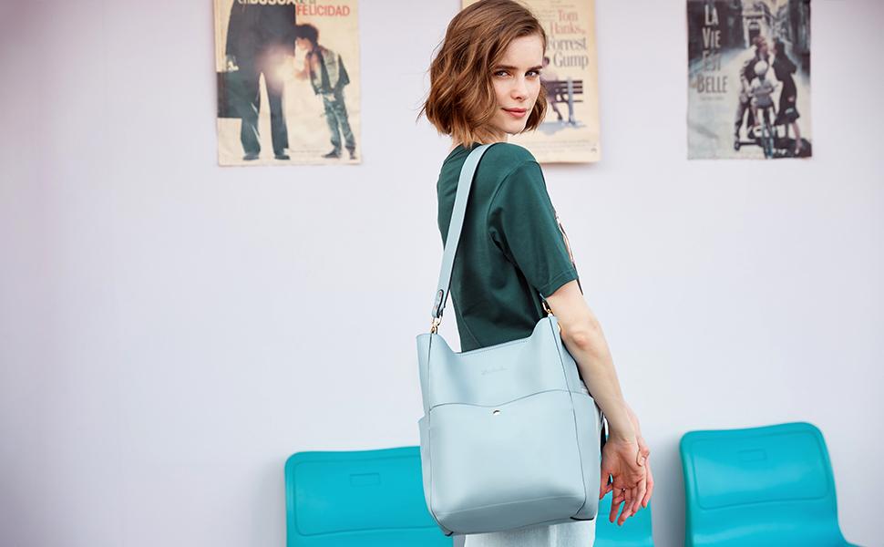 BOSTANTEN Women's Leather Designer Handbags Tote Purses Shoulder Bucket Bags 7