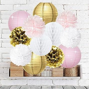Pink Gold Party Decorations Furuix 12pcs Tissue Paper Pom Pom