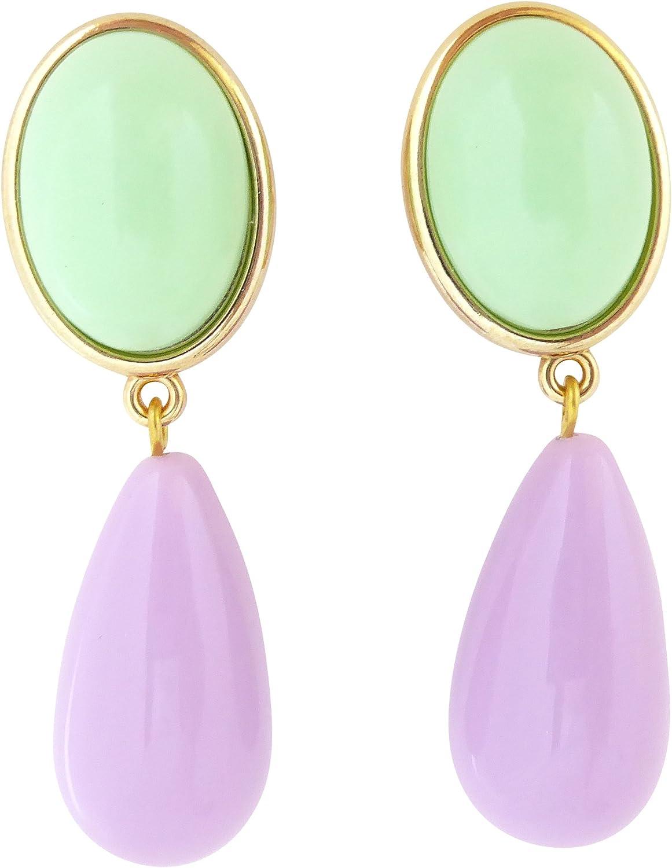 Pendientes de clip de color verde y lila, muy grandes, dorados, con colgante de piedra menta, lila, con forma de gota, de diseño, JUSTWIN